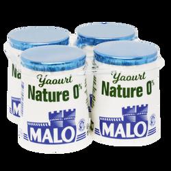 Yaourt nature 0% de mg, MALO, pot, carton, 4x125g