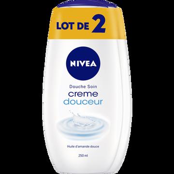 Nivea Gel Douche Soin Crème Douceur À L'huile D'amande Douce Nivea, 2 Flacons De 250ml