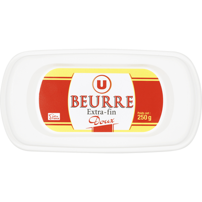 Beurre extra fin doux 82%mg, U barquette 250g