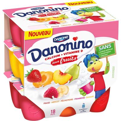 Fromage frais 2,10% de MG aux fruits panachés DANONINO, 18x50g