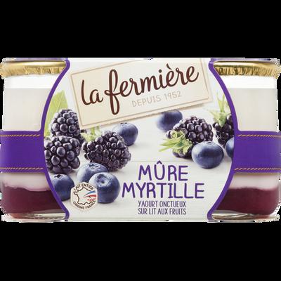 Yaourt brassé sucré aromatisé mûre myrtille LA FERMIERE, 2x160g