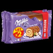 Milka Biscuit Roulé Fourré Crème Noisette Enrobé Chocolat Milka, 2x148g