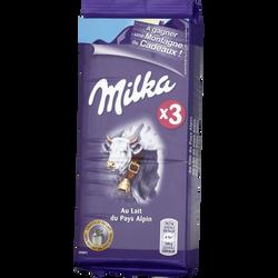 Chocolat au lait MILKA, 3 tablettes de 100g