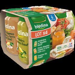 Petits pots bébé (tomate riz poulet, petits légumes colin, jardinièreboeuf) BLEDINA, dès 6 mois, 4x200g