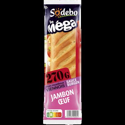 Sandwich Méga baguette, jambon, salade, oeuf, tomate, sauce burger SODEBO, 270g