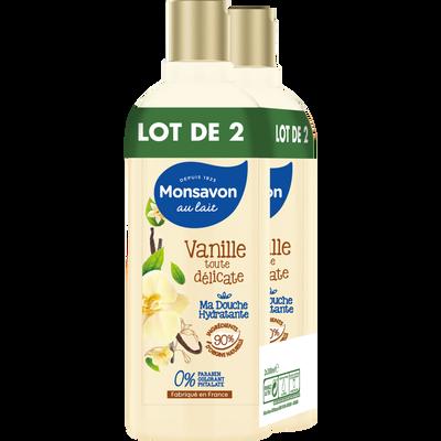 Gel douche hydratant à la vanille MONSAVON, 2 flacons de 300ml