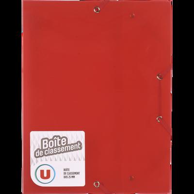 Boite de classement U, 24x32 cm, dos 25 mm, polypro, rouge