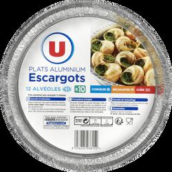 Plats aluminium escargots 12 alvéoles U, x10