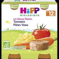Petit pot bio pour bébé tomates, pâtes, veau HIPP, dès 12 mois, 2x250g