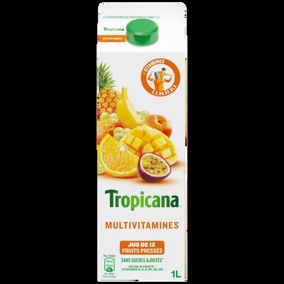 Jus de 12 fruits réfrigérés multivitaminés TROPICANA, brique de 1 litre