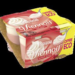 Dessert lacté à la fraise LE VIENNOIS, 4X100g Offre Economique