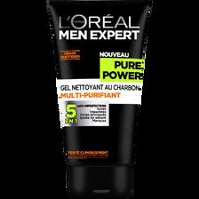 Gel nettoyant visage au charbon Pure Power MEN EXPERT, tube de 150ml