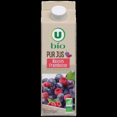 Pur jus de raisin framboise issu de l'agriculture biologique, flash pasteurisé réfrigéré U BIO, 1litre