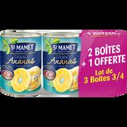 St Mamet Grand Ananas Au Sirop Entières Saint Mamet,10 Tranches, 2 Boîtes De345g + 1 Offerte