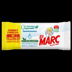 Lingettes biodégradables désinfectantes 0% résidus agressifs ST MARC,x64 format familial