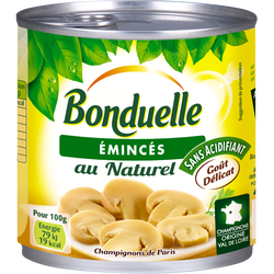 Champignons émincés au naturel BONDUELLE, boîte de 230g
