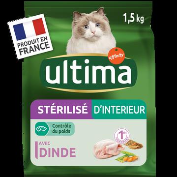 Ultima Croquettes Pour Chats Stérilisés D'intérieur Ultima, 1,5kg