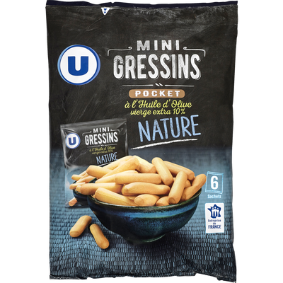Mini gressins nature U, 6 sachets de 20g