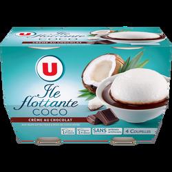 Île flottante à la noix de coco et crème au chocolat U, 4x100g
