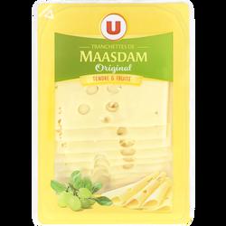 Fromage de Hollande à pâte pressée en tranches Maasdam Original au lait pasteurisé U, 27%MG, 200g