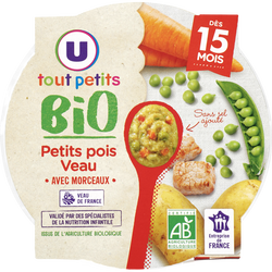 Assiette de petits pois et veau bio Tout Petits Bio U dès 15 mois, 250g