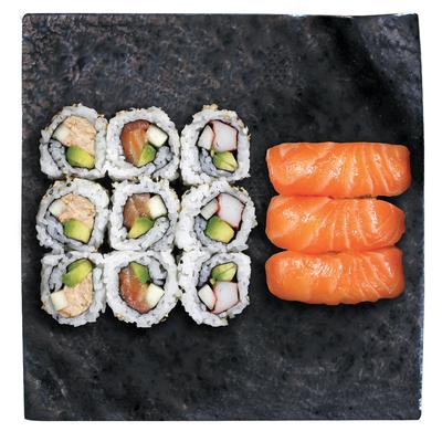3 california saumon,3 california tuna,3 california surimi,