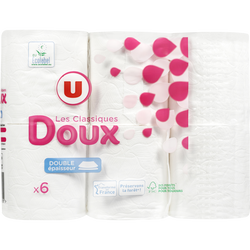 Papier toilette doux blanc 2 plis U, x6 rouleaux