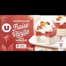 Vacherins glacés fraise vanille coeur meringue U, 2x180g