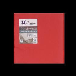 Serviettes U MAISON, 33x32cm, 2 plis, rouge, 100 unités