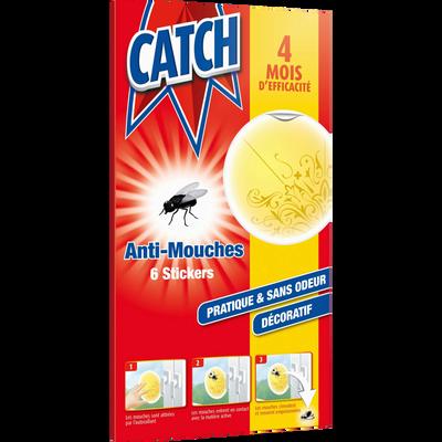 Stickers anti-mouches décoratifs jaunes CATCH, 6 unités