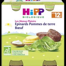Petit pot bio pour bébé épinard, pommes de terre, boeuf HIPP, dès 12 mois, 2x250g