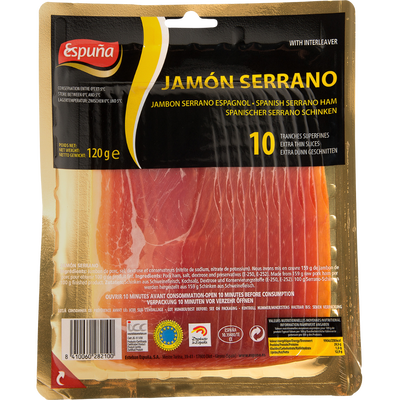 Jambon serrano Espagnol bodega ESPUÑA, 10 tranches fines, 120g