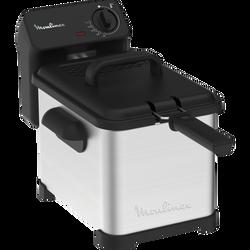 Friteuse semi pro MOULINEX AM503010 3000w-thermostat réglable de 150°à 190°-capacité 1,3kg aliments frits ou 1kg frites fraiches-4l d'huile-cuve amovible-compat.lave vaiss.