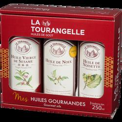 Trio d'huiles noix noisette et sésame LA TOURANGELLE, 3x250ml
