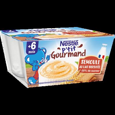 Dessert infantile semoule au lait biscuitée P'tit Gourmand NESTLE, dès6 mois, 4x100g