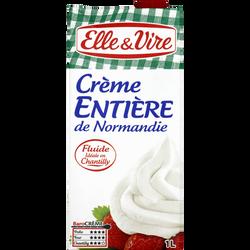 Crème UHT entière de Normandie ELLE & VIRE, 30%mg, 1l