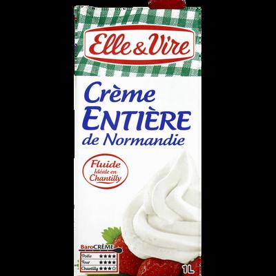 Crème UHT entière de Normandie 30% de matière grasse ELLE & VIRE, brique de 1l