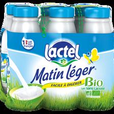 Lait UHT Bio stérilisé sans lactose MATIN LEGER,  1,2% de mg, bouteille 6x50cl