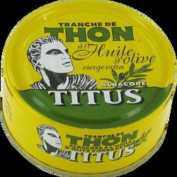 Thon albacore huile olive extra vierge TITUS, boîte de 160g