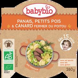 Assiettes panais, petits pois, canard fermier du Poitou BABYBIO, dès 15 mois, 260g