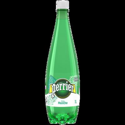 Eau minérale naturelle gazeuse aromatisée à la menthe PERRIER, bouteille en plastique de 1l