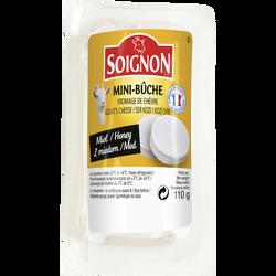 Mini bûche de chèvre non affiné au lait pasteurisé au miel SOIGNON, 45% de MG, 110g