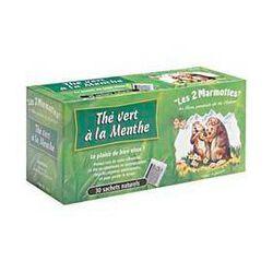 Thé vert à la menthe LES 2 MARMOTTES, 35 sachets, 45g