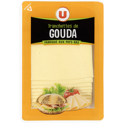 Fromage de Hollande à pâte pressée en tranche Gouda au lait pasteuriséU, 30%mg, 200g