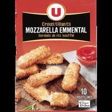 Bâtonnet croustillant à la mozzarella et à l'emmental U, 14% de MG, 10unités, 180g