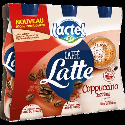 Boisson lactée UHT sucrée arômatisée au café et au cacao cappuccino LACTEL, 3 bouteilles de 220ml