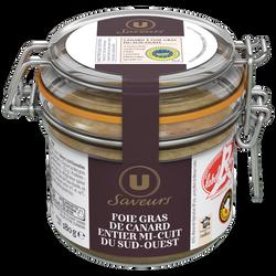 Foie gras de canard entier mi-cuit du Sud Ouest label rouge Saveur U,180g