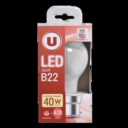 Led U, ronde, 40w, b22, opaque, lumière chaude