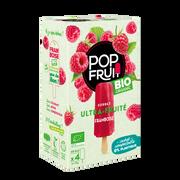 Pop Fruit Bâtonnets À L'eau Pop'fruit Framboise Bio Maison De La Glace, X4