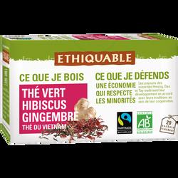 Thé vert hibiscus gingembre Vietnam Bio ETHIQUABLE, 20sachets de 36g